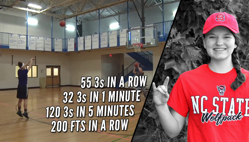 NC State Commit Leah Church Breaks World Record With 32 3s in 1 minute (55 in a row)