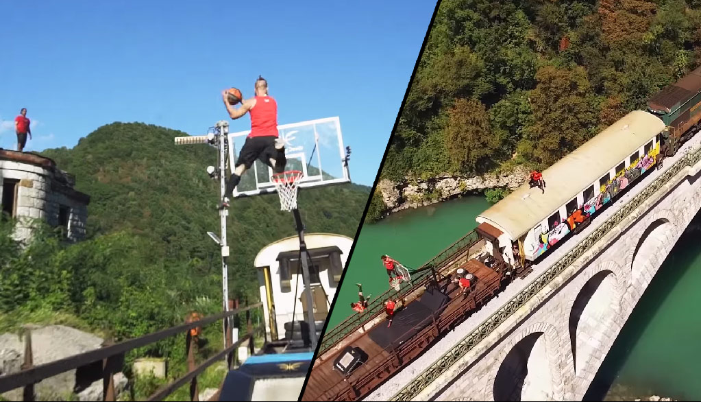 Extreme Dunks: Dunking Devils' Trampoline Dunks On Top Of A Moving Train