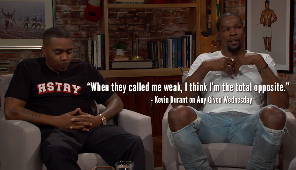 Kevin Durant & Nas Discuss Rivalries in Hip-Hop and Basketball With Bill Simmons