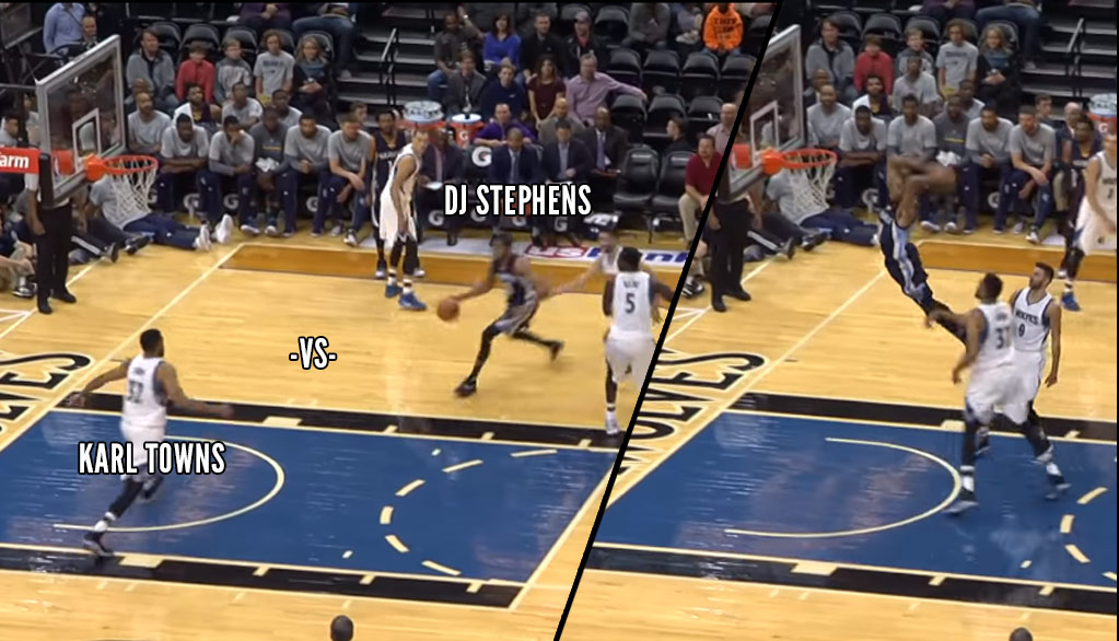 Karl-Anthony Towns Wanted None Of This Vicious Dunk By DJ Stephens