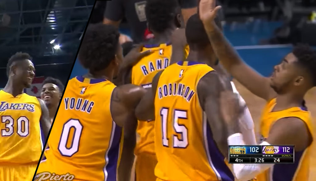 D'Angelo Russell High-Fives Himself After Nick Young & Julius Randle Leave Him Hanging