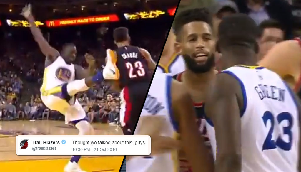 Draymond Green & Allen Crabbe Had To Be Separated After Draymond Kick