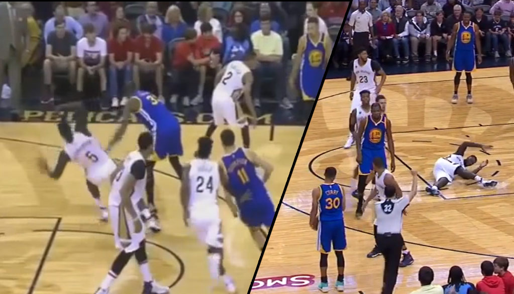 Kevin Durant Gets A Tech For Shoving Lance Stephenson To The Ground