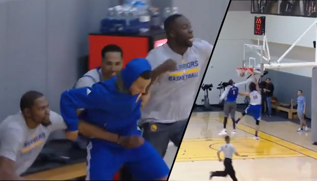 Steph Curry & Draymond Green Lose It After Varejao Dunks on JaVale McGee