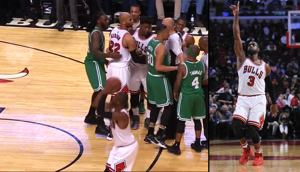 Dwyane Wade Practicing His Improved 3-Point Shot During Bulls/Celtics Scuffle