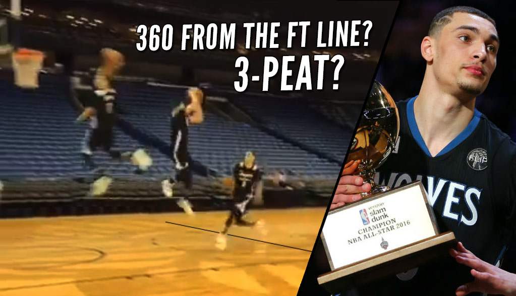 3 Peat? Zach LaVine Does A 360 From Near The Free Throw Line In Practice