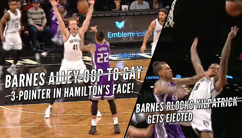Rough Night For Matt Barnes: Unintentional 3-Pointer + Unfair Ejection