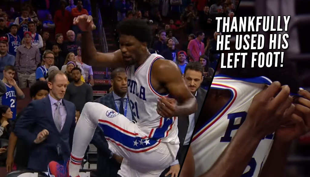 Joel Embiid Kicks Chair In Anger When Told He Has To Sit Out 2nd OT Due To Minutes Restrictions