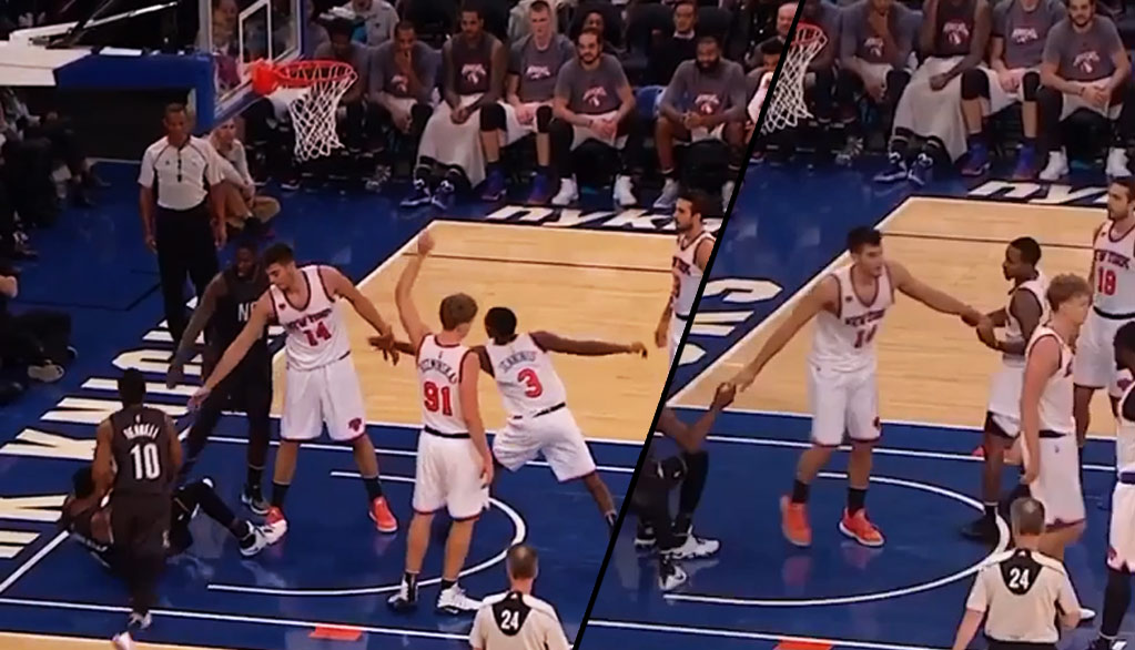 Brandon Jennings Doesn't Allow Rookie Willy Hernangomez To Help Opposing Player Up