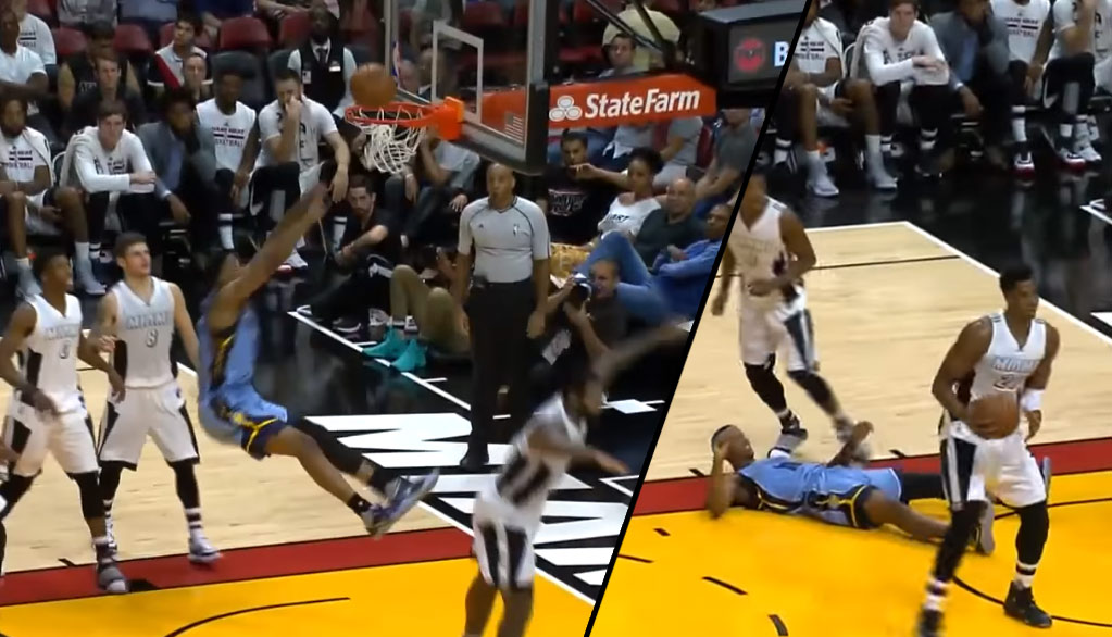 Dunk FAIL: Troy Williams Falls After Missing Dunk