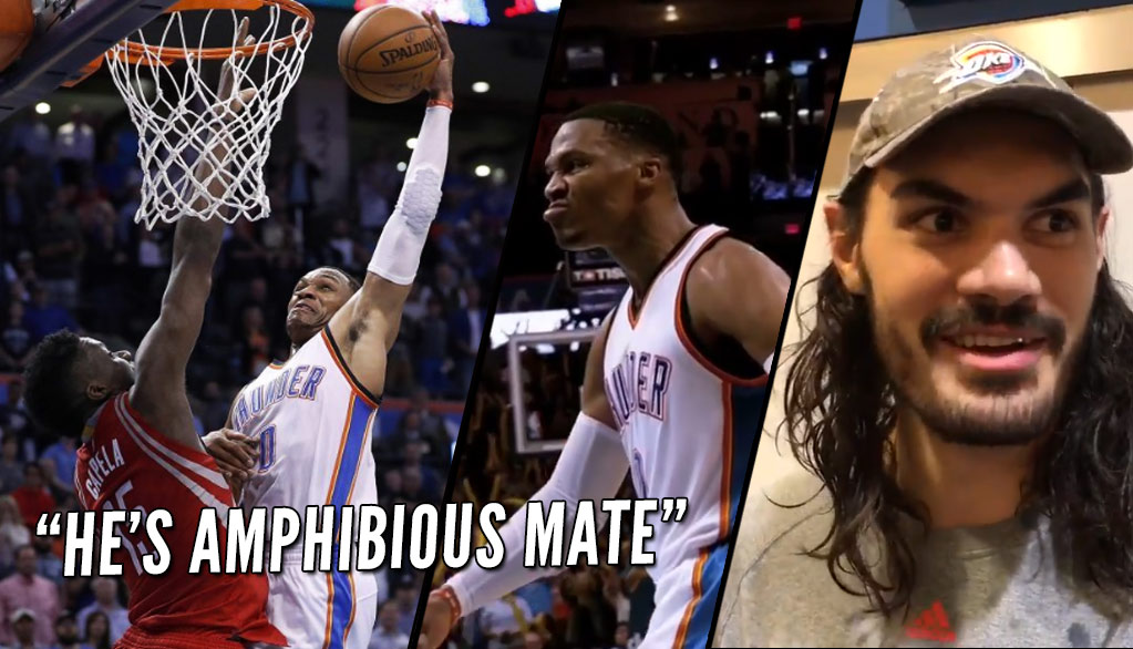"Steven Adams On Russell Westbrook's Lefty Poster Dunk On Capella: ""He's Amphibious Mate"""