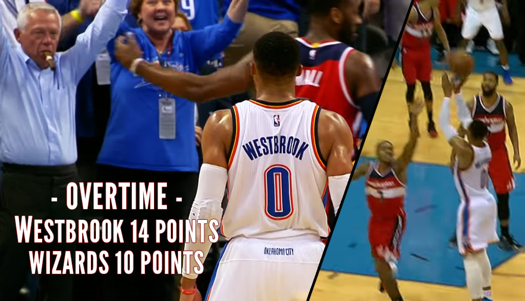 Ice Cold Russell Westbrook Forces OT, Then Outscores Wizards 14-10 In OT