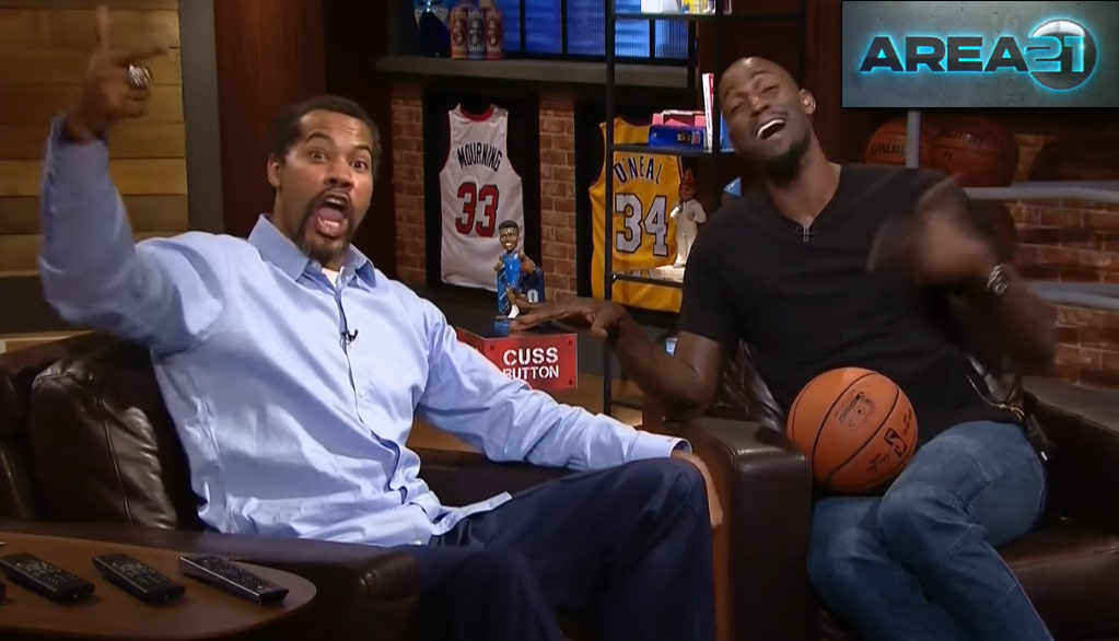 "Kevin Garnett & Rasheed Wallace Test Out The Cuss Button On KG's New Show ""Area 21"""