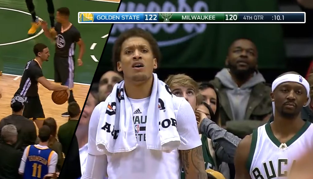 Michael Beasley's Reaction To The Bucks Late 4th Quarter Turnover Vs The Warriors