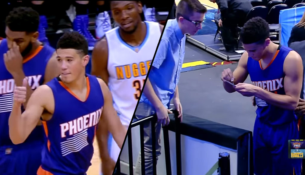 Devin Booker Celebrates His First Ejection By Giving A Thumbs Up & Signing An Autograph