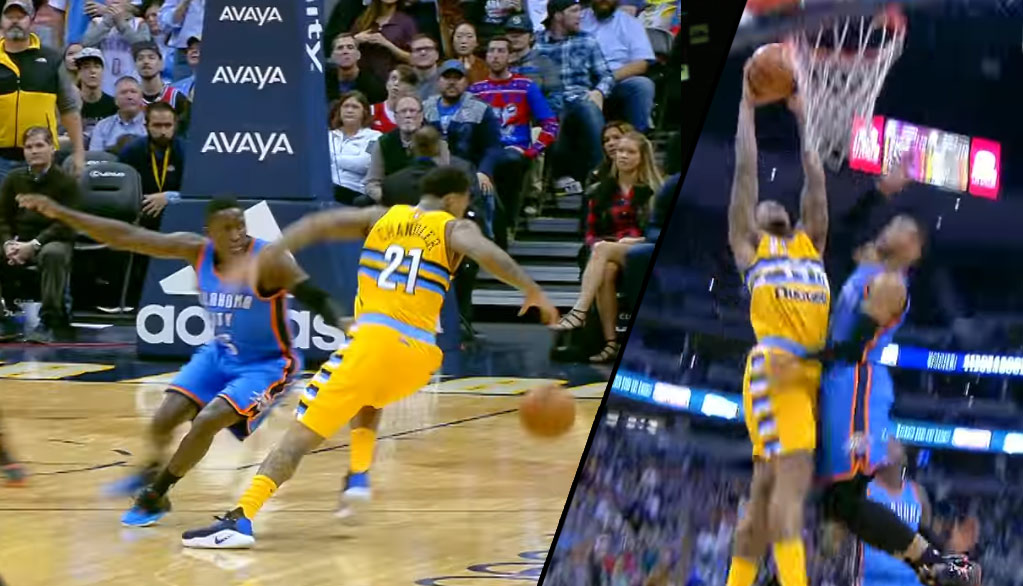 Wilson Chandler Goes Behind The Back On Oladipo Then Dunks By Westbrook