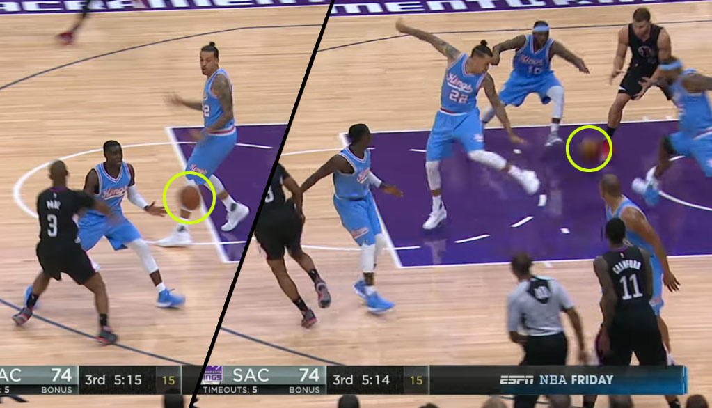 Seven Angles of Chris Paul's Beautiful Bounce Pass Between Four Kings