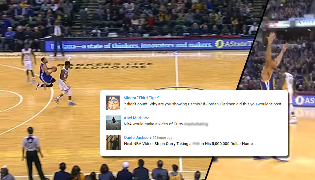 The NBA YouTube Channel Gets Roasted For Showing Curry's 75 Foot Shot That Didn't Count