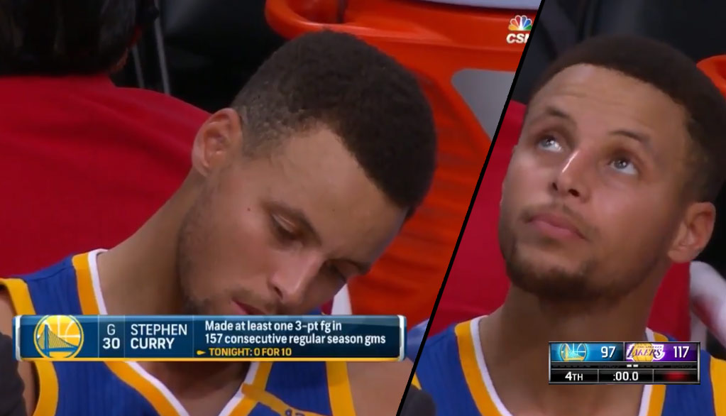 Steph Curry's 157 Game 3-Point Streak Ended During 20 Point Loss To The Lakers!