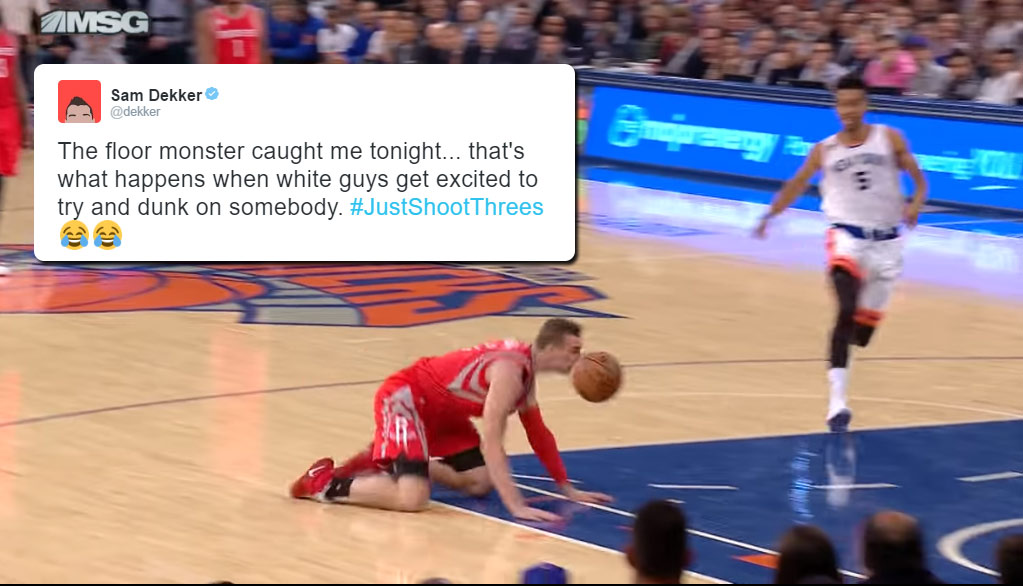 """Sam Dekker Shows What Happens When """"White Guys Get Excited To Try & Dunk On Somebody"""""""