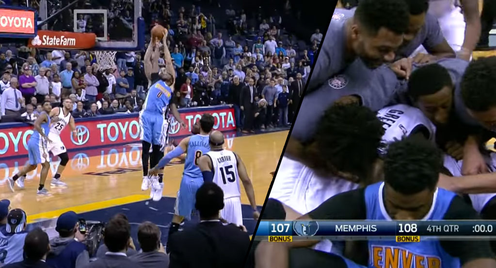A Devastated Looking Mudiay Sits By Grizzlies Dogpile After Marc Gasol Game-Winner