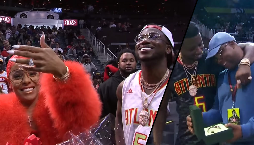 Gucci Mane Proposes To Girlfriend, Gives Rolex To Fan At Hawks Game