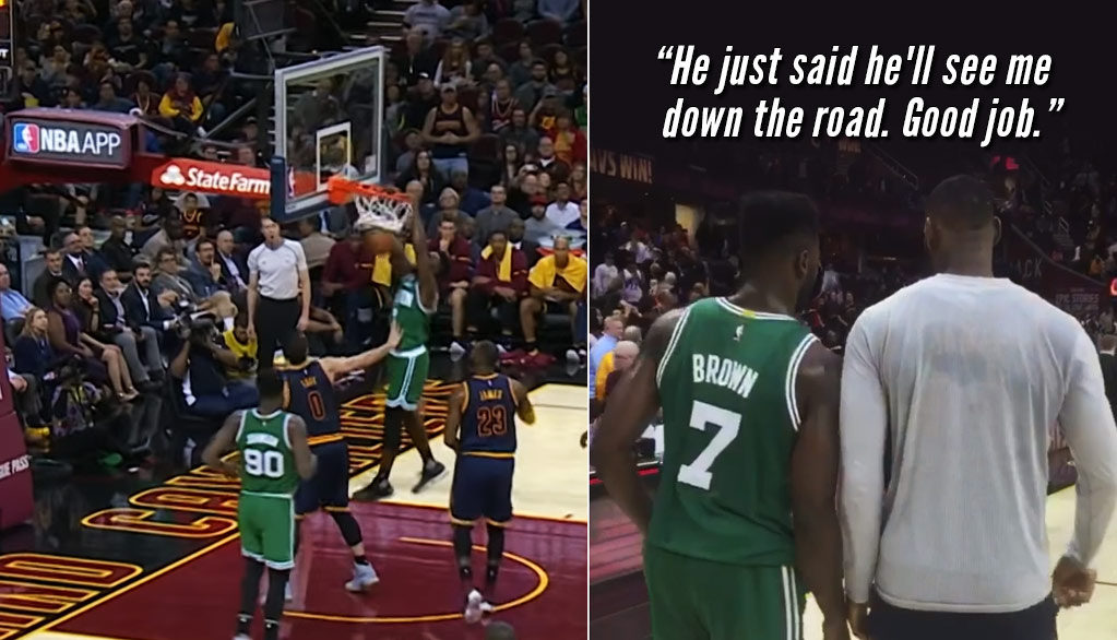 Jaylen Brown Made Highlights Out Of Lebron & Love In His First NBA Start