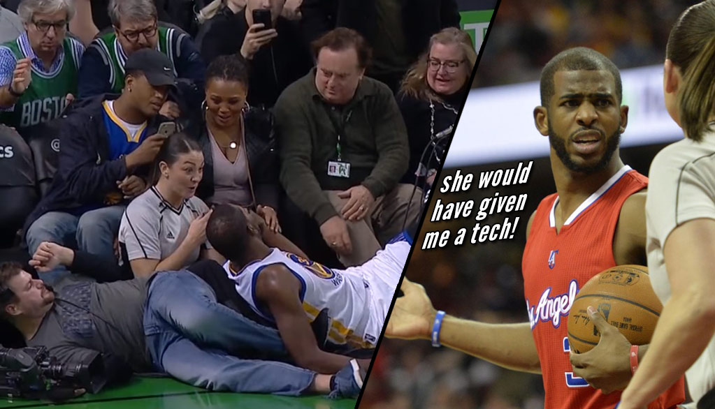 Kevin Durant Falls & Knocks Down Chris Paul's Favorite Ref, And Got A Smile!