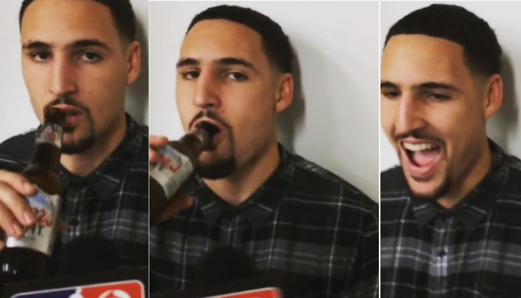 Klay Thompson Enjoys A Coors Light Beer During A Postgame Interview