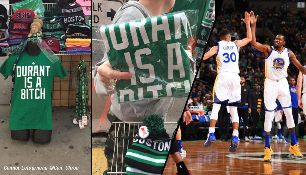 """""""Kevin Durant Is A B***H"""" Shirts Were Actually Being Sold Outside Boston's Arena"""