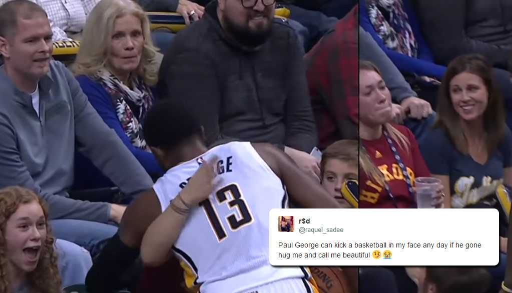 Facial! Paul George Hugs Female Fan After Kicking A Ball Into Her Face