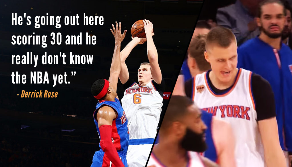"Knicks Fans Chant ""MVP"" As A Possessed Looking Kristaps Porzingis Drops Career-High 35 On Pistons"