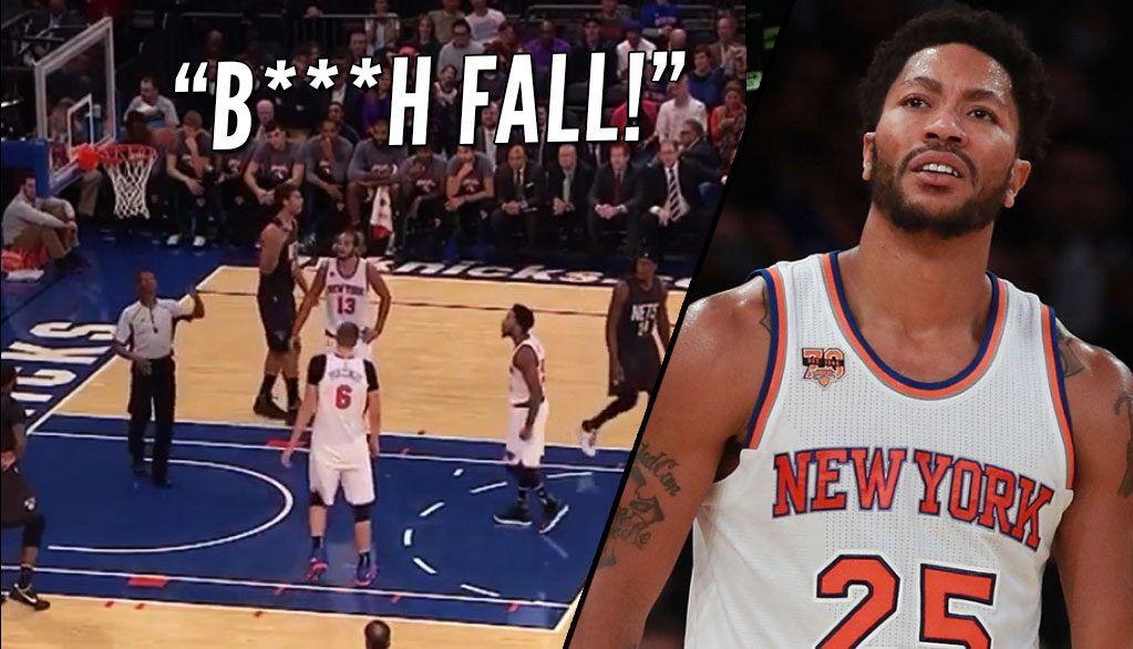 "Derrick Rose Yells ""B**** Fall"" On A Missed Free Throw"