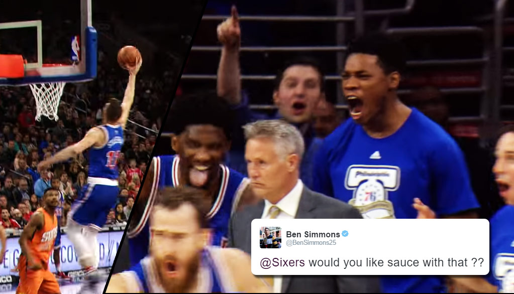 76ers Bench Goes Crazy Over Nik Stauskas' Dunk & Almost Perfect Season-High Game