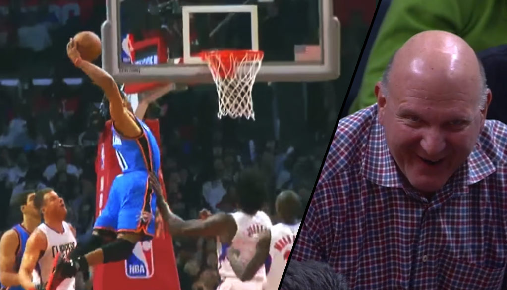 Even Clippers Owner Steve Ballmer Enjoyed This Nasty Dunk By Russell Westbrook