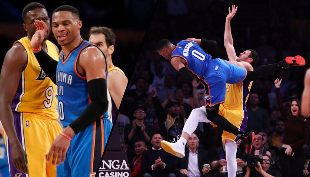 Russell Westbrook Curses Out Luol Deng After Flagrant Foul, Later Gives Larry Nance Jr A Bloody Nose