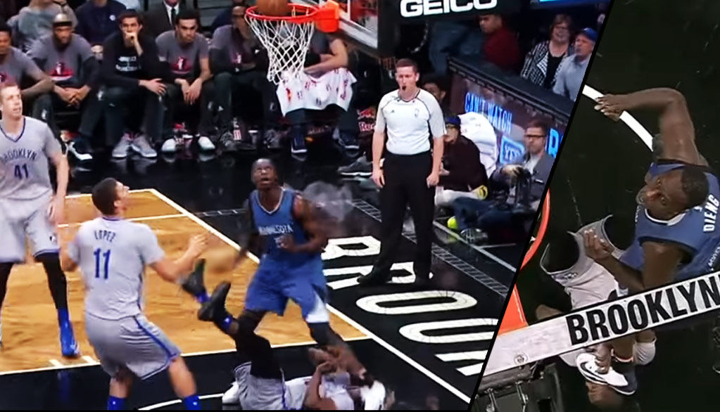 Gorgui Dieng Knocks Isaiah Whitehead Down Then Steps On His Head!