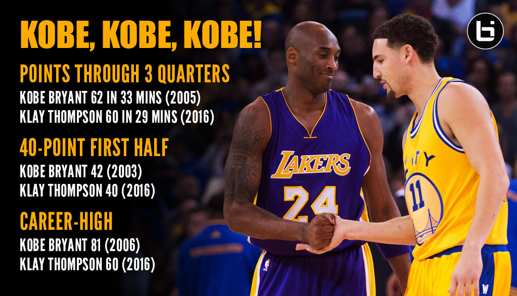 Klay Thompson's 60 Point Game Reminded Us Of A Few Great Kobe Bryant Games