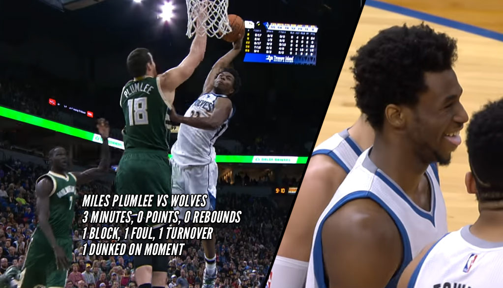 Andrew Wiggins Cracks Up After Dunking on Miles Plumlee & Ruining His 3 Minutes Of PT