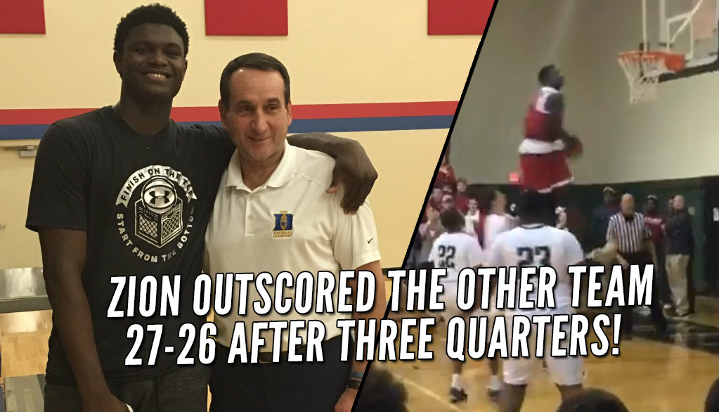 Zion Williamson Almost Outscores Opposing Team, Throws Down INSANE Alley-Oop Windmill In Game