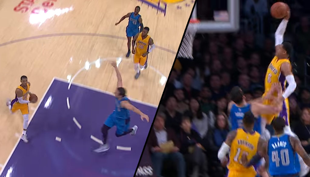 Andrew Bogut Hits The Brakes, Wisely Doesn't Try To Challenge Jordan Clarkson's Dunk