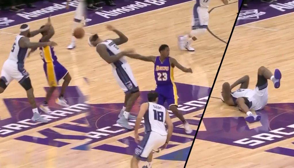 DeMarcus Cousins Pulls Lou Williams' Hand To His Own Face, Flops & Lou Gets The Tech?!