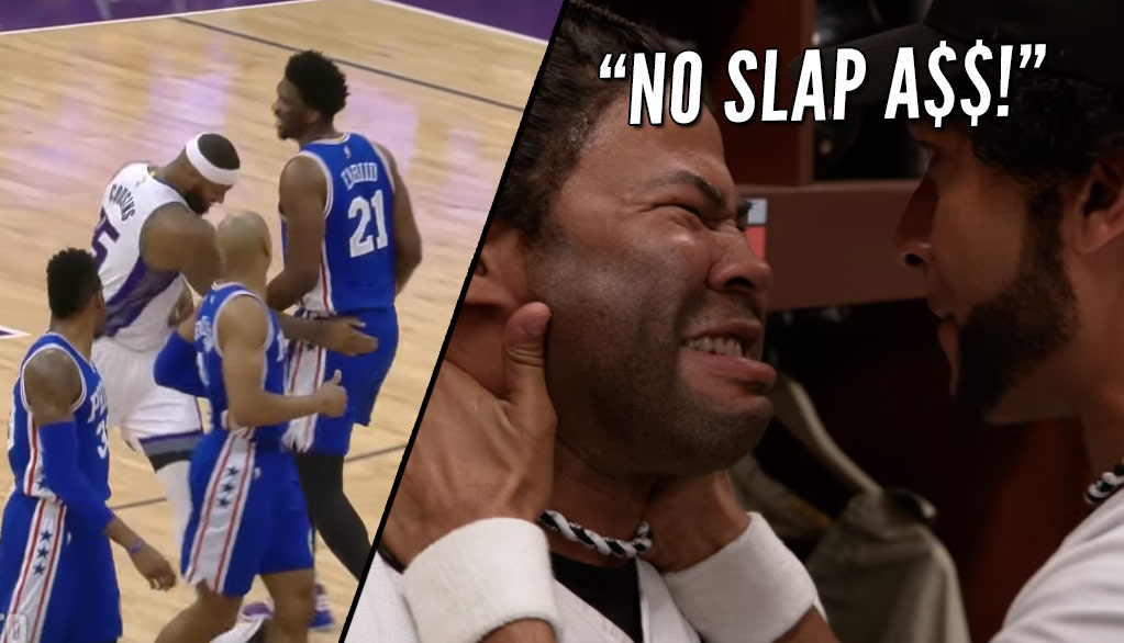 "DeMarcus Cousins Wins ""Slap A$$"" Competition With Joel Embiid"