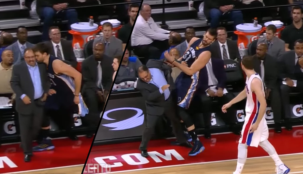 Marc Gasol tries to give Stan Van Gundy a kiss and gets rejected