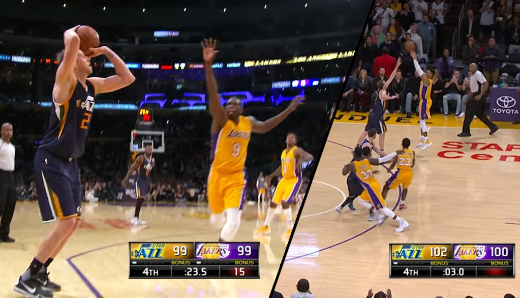 Joe Ingles Hits Clutch Three, Forces D'Angelo Russell To Airball A Potential Game-Winning Three!