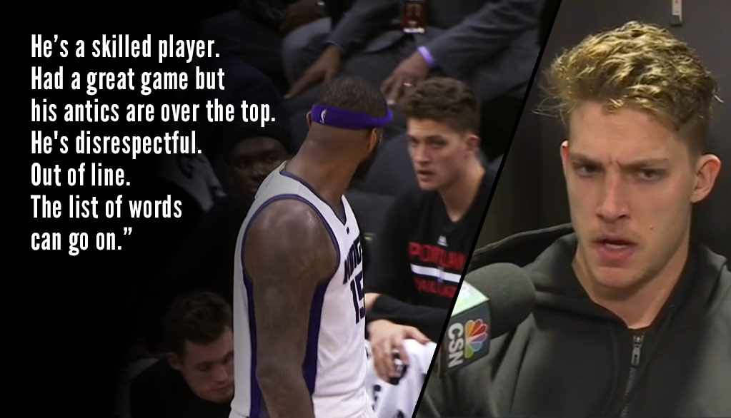 Blazer's Meyers Leonard Goes Off On DeMarcus Cousins, Explains Why He Doesn't Respect Him
