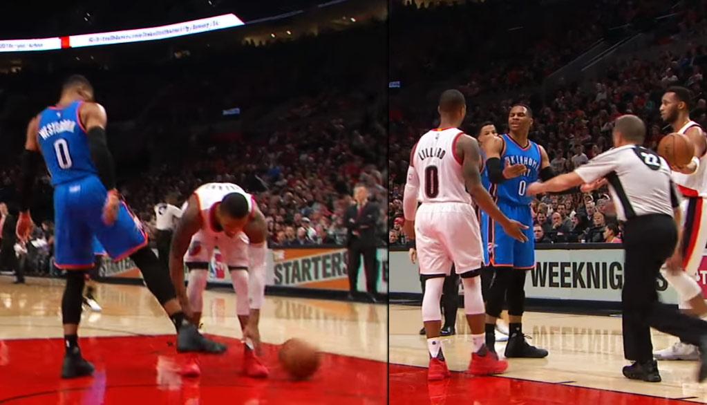 Russell Westbrook & Damian Lillard Exchange Words After Westbrook Kicks The Ball