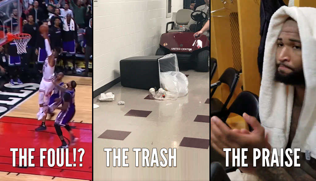 DeMarcus Cousins Knocks Trash Cans & Mocks Refs After Phantom Foul Call On D Wade's Missed Dunk