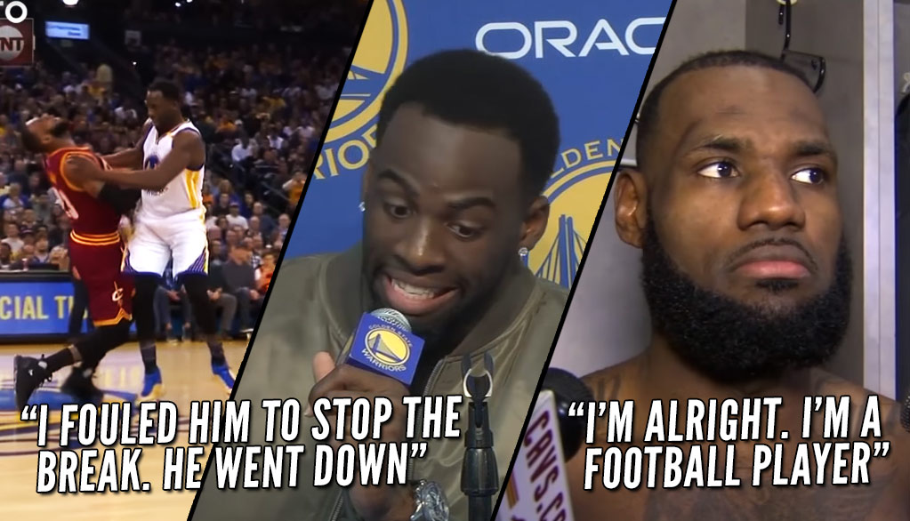 "LeBron James & Draymond Green Discuss Flagrant Foul/Flop Collision, ""I'm Alright, I'm A Football Player"""