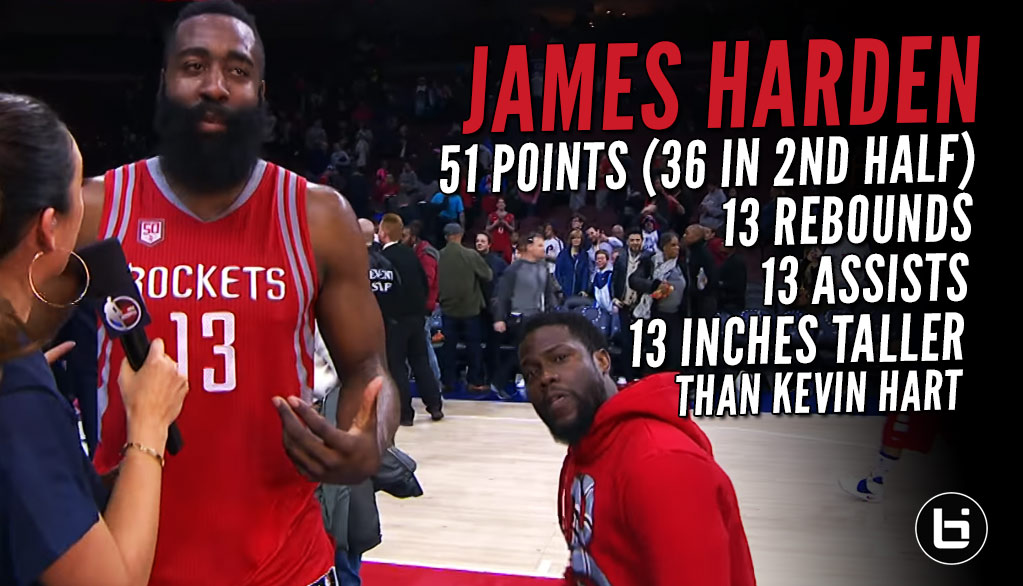 Kevin Hart Videobombs James Harden After Another Historic 50-Point Triple-Double